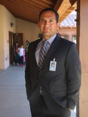 "Superintendent Edwin Gomez, pictured at Saul Martinez Elementary School in 2017, said in a note to parents and staff on Monday, April 29, 2019, ""The investigation revealed that the camera was mistakenly placed in a classroom at Saul Martinez instead of the classroom approved by the site principal and classroom teacher at another elementary school."""