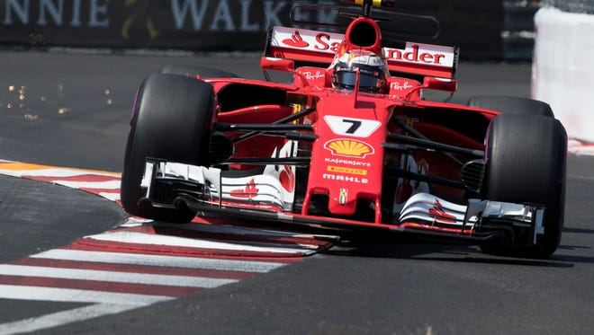 Kimi Raikkonen of Scuderia Ferrari in action during the qualifying session.