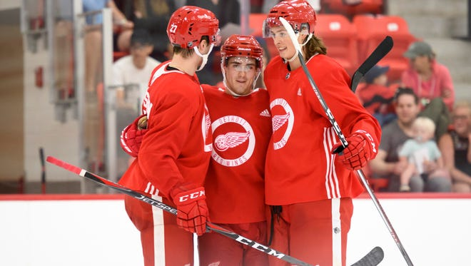 Michael Rasmussen, left, and Filip Zadina, center, will take center stage at the upcoming NHL Prospects Tournament.