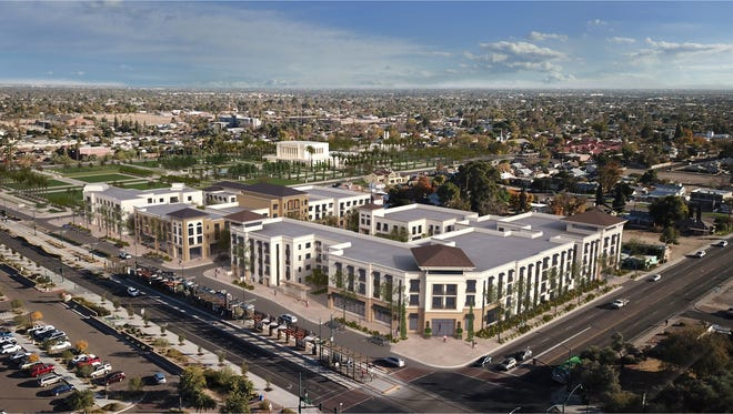 An aerial view of the planned redevelopment around the Mormon temple in Mesa. City Creek Reserve, the church's development arm, is leading the project, which is mostly housing.