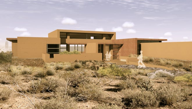 A rendering of a Frank Lloyd Wright-inspired home in Cahava Springs.
