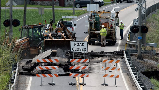 Wayne Highway is cloased at the railroad tracks in the 6000 block of Pa. 316 (Wayne Road) Qunicy Township on Monday, May 7, 2018. Follow detour signs in the area.