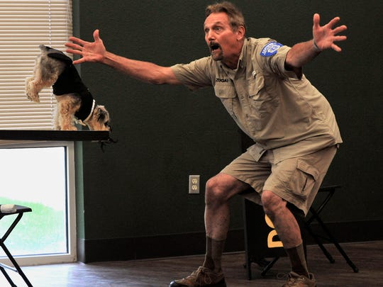 Jay Zugai spreads his hands wide as his dog Zoudini, a 5-year-old Yorkie-Poodle mix whose real name is Eli, balances on his front paws and nose during Senior Talent Show auditions July 7 at Rose Park Senior Center. The show is scheduled for 2 p.m. Saturday.