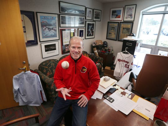 Red Wings general manger Dan Mason inside his office at Frontier Field Thursday, April 5, 2018 in Rochester.