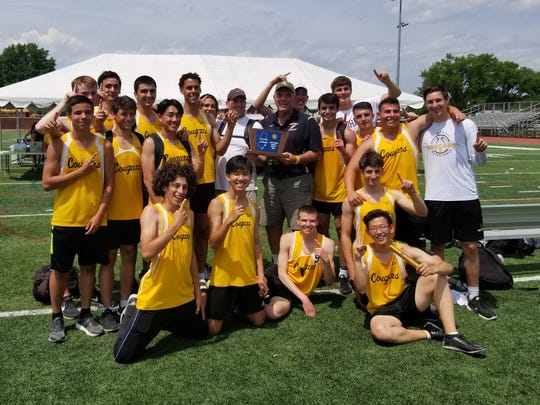 The Cresskill boys track and field team celebrates its North 1, Group 1 state sectional title on Saturday, May 26, 2018.