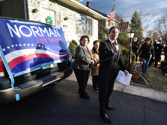 Bergenfield Mayor Norman Schmelz announces his run for Bergen County Executive as his sister Norma Rose-Elfers and mother Rose Schmelz listen outside of his mother's home in Bergenfield on Sunday, March 4, 2018.