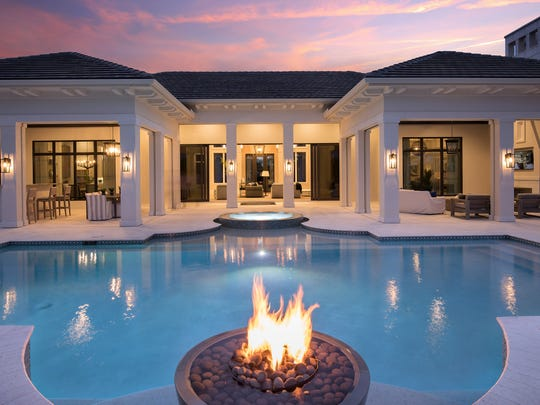 Calista pool with fire pit