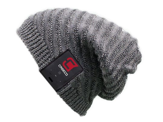 Caseco's Bluetooth Beanie is a knitted cap with built-in headphones (and microphone) that you wirelessly stream music, audio books, podcasts or calls from your nearby smartphone up to 30-odd feet away.