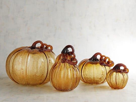 Amber Crackle Art Glass Pumpkins & Gourd