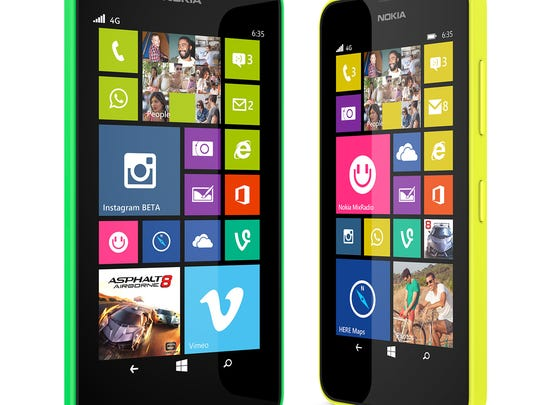 This product image provided by Microsoft shows the Lumia 635 smartphone. (AP Photo/Microsoft)