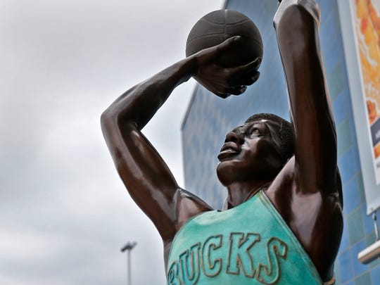 Oscar Robertson is portrayed in one of the new bronze statues of iconic Indiana sports legends to be unveiled Tuesday, July 24, 2018, in the Riley Children's Health Sports Legends Experience area at the Children's Museum of Indianapolis.