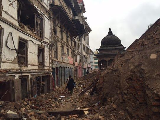 Destruction in Darbar Square, Katmanduin the wake of