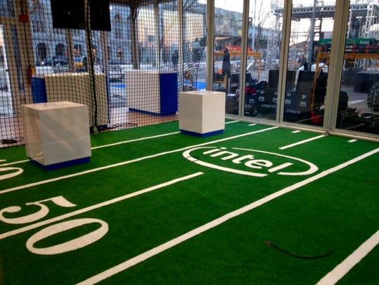 Intel's drone-flying cage at Super Bowl City, San Francisco.
