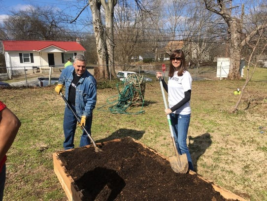 Local United Way President Shannon Green, left, and
