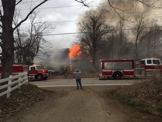 Fire destroyed a house at 2525 Ohio 96 Monday afternoon.