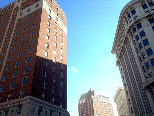 The Plaza Hotel building, left, is near the Mills Building,