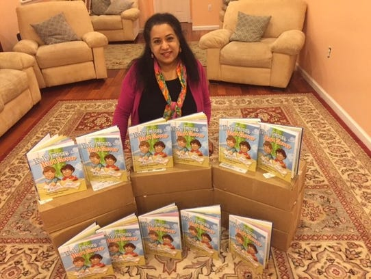 Local author Sudha Ramaswami with some of her published