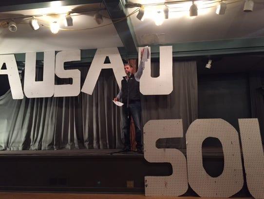 Nick Bretl during his presentation at Wausau SOUP Friday.