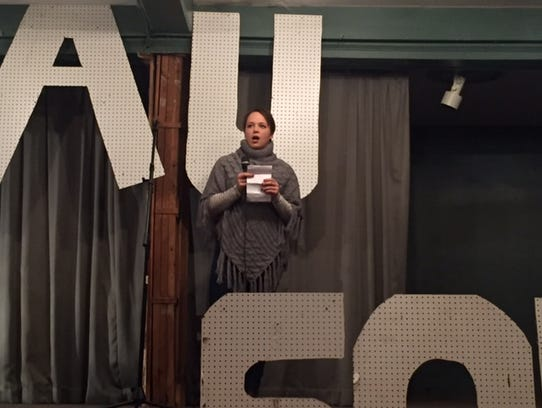 Samatha Schroeder presents to the audience at Friday's