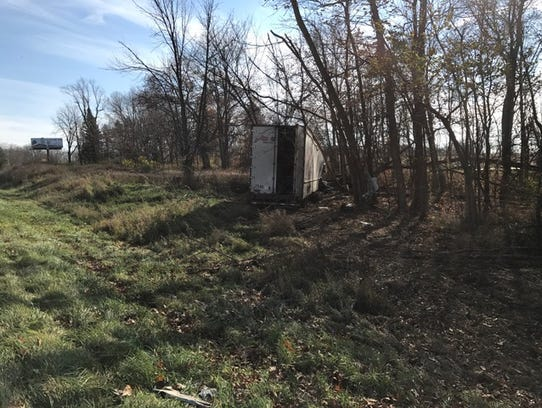 A semi truck veered off I-94 near Exit 92 on Friday