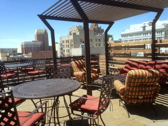 The rooftop patio of the now-open Savoy Lofts in Downtown