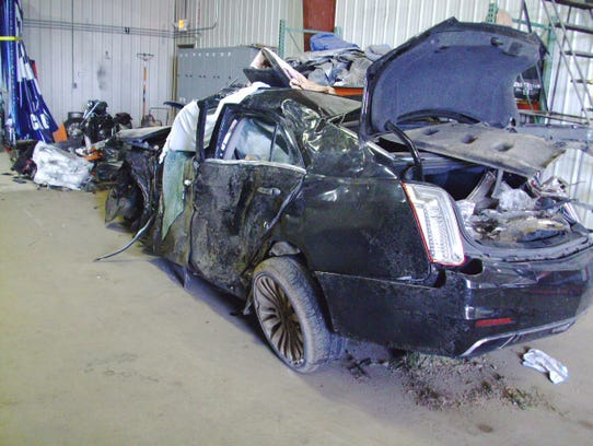 One of the two vehicles involved in a fatal crash Tuesday