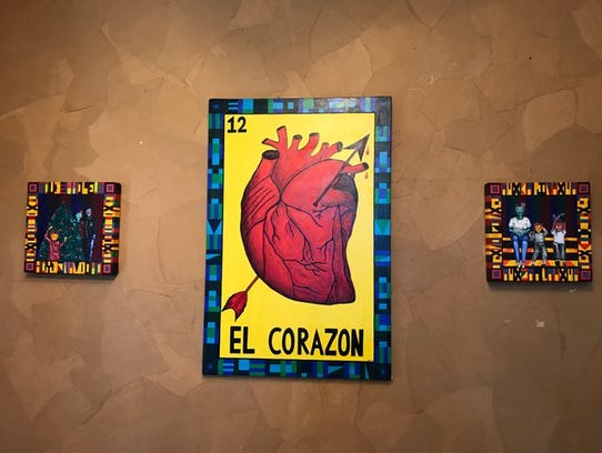 """El Corazon"" by Mayra Zamora is on display at the Tejano"
