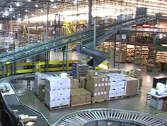 A conveyor system at one of omnichannel commerce technology