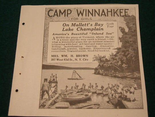 A 1921 ad for Camp Winnahkee on Coates Island.