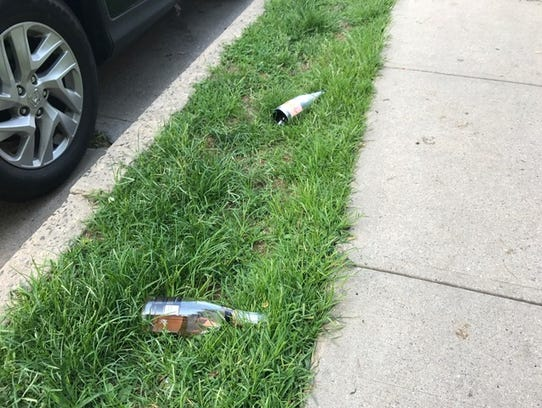 Bottles littered the ground near the scene of a fatal
