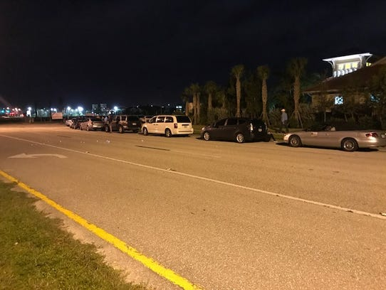 Cars started lining up at Germain Arena for shelter
