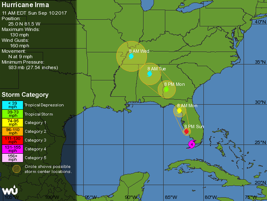 The 11 a.m. forecast track looks far different than