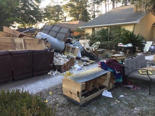 Larry and Carla Minton's home in Vidor, Texas, received