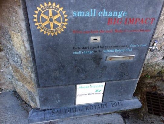 The Rotary Club's donation box.