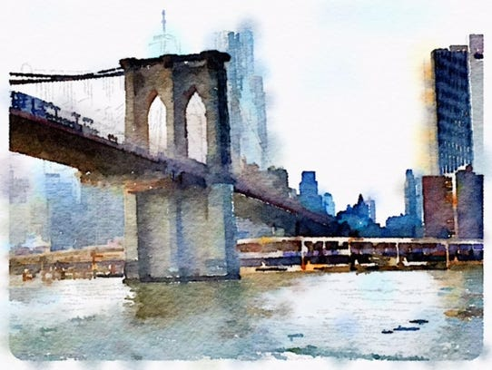A painting of the Brooklyn Bridge in New York.