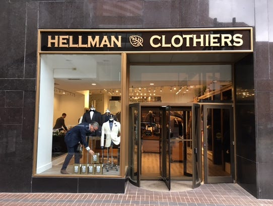 The Race Street entrance to Hellman Clothiers in Carew