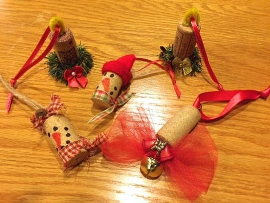 Wine corks turned into ornaments.