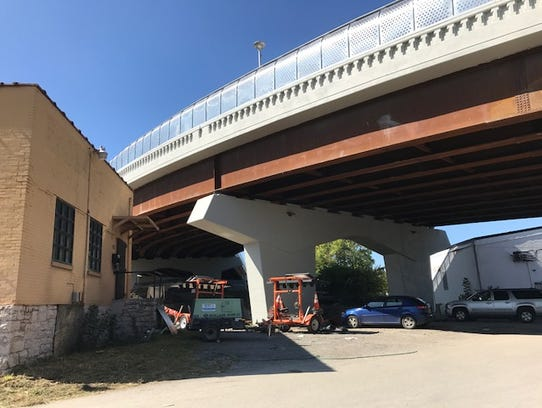 A glimpse of the Division Street Bridge from underneath