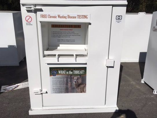 The Pennsylvania Game Commission offered free testing of deer for chronic wasting disease this hunting season. A collection box for deer heads is pictured.