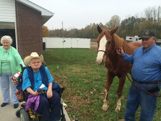 Jarrad Rudd brought by Happy the horse to visit with