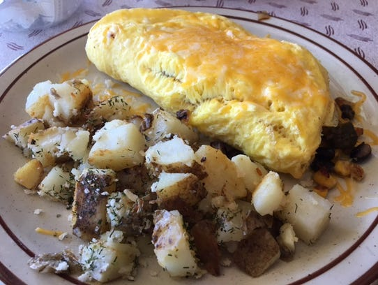 A specialty of Scotts Corner Cafe is the omelets, including
