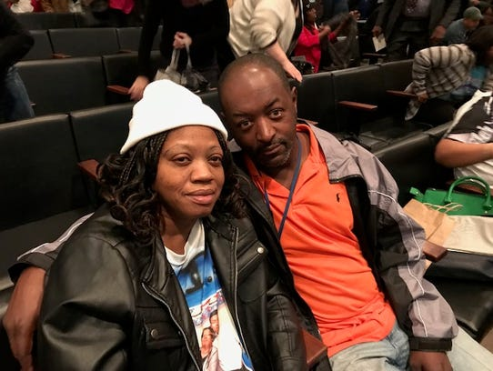 Antoinette Johnson Guy and her husband, Tony Guy, wait