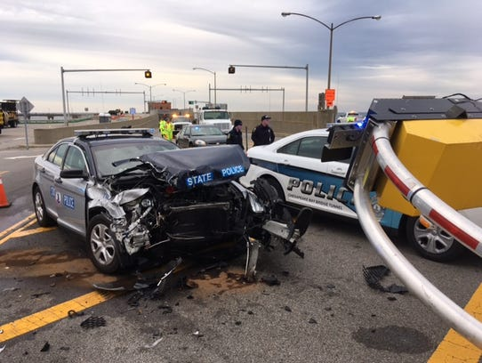 A Virginia State Police vehicle suffered extensive