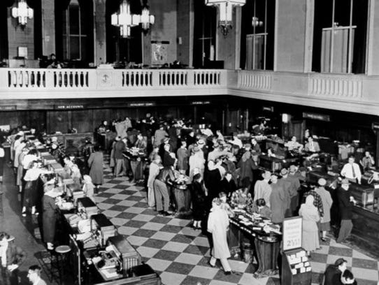 Michigan National Bank's lobby in its early years,