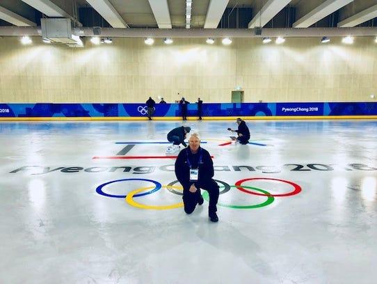 Joe Meierhofer stands on a practice ice surface as