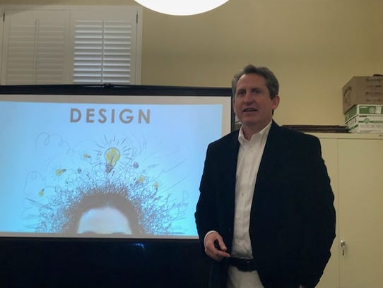 Jack Faber, architect with Hafer firm, speaks at public