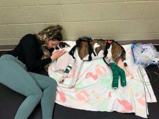 Mikaela Smith visits Piper April 24, 2018 at MSU's
