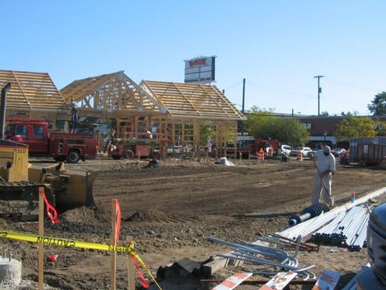 The pavilion under construction in summer 2005. The pavilion officially opened to the public on Saturday, Oct. 22 that year.