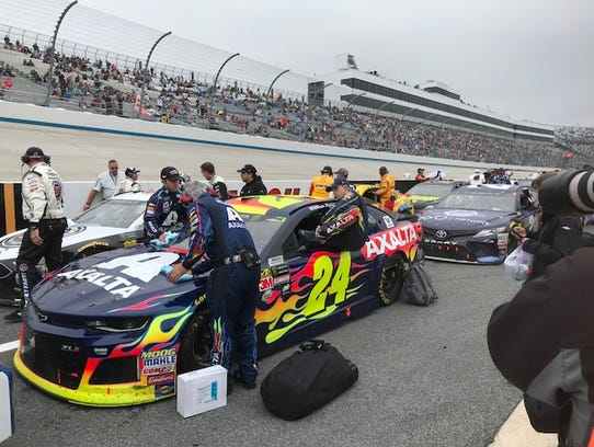 NASCAR driver William Byron hopes back into his car