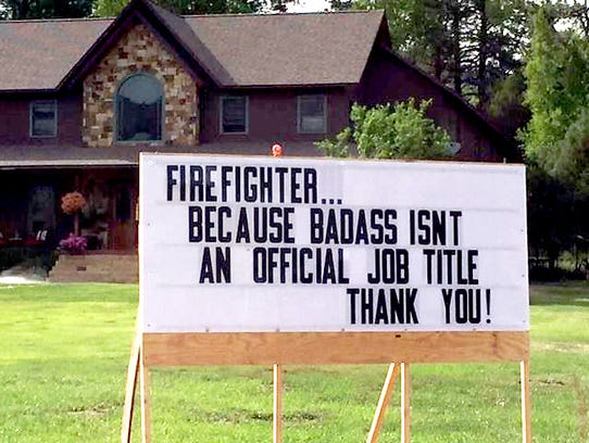 Residents and businesses are putting up signs of support for the hundreds of firefighters battling the 416 Fire 10 miles north of Durango, Colo. This undated photo is part of a gallery posted on Facebook by the #416 Fire Team. It can be viewed at http://bit.ly/2JpxhQG.
